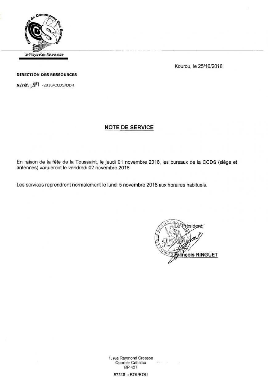 Fermeture bureaux – Toussaint 2018