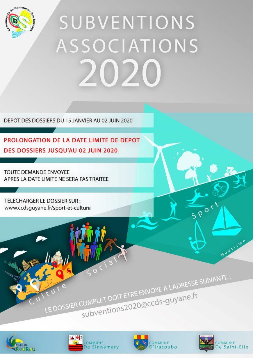 subventions 2020 : Prolongation jusqu'au 02 Juin 2020 de la date de limite de dépôt des dossiers