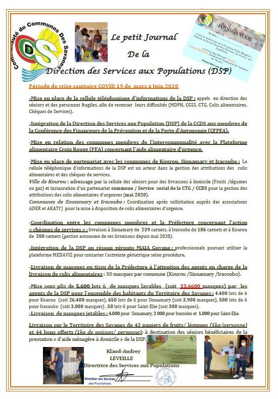 Petit Journal de la Direction des Services aux Populations (DSP) de mars à juin 2020