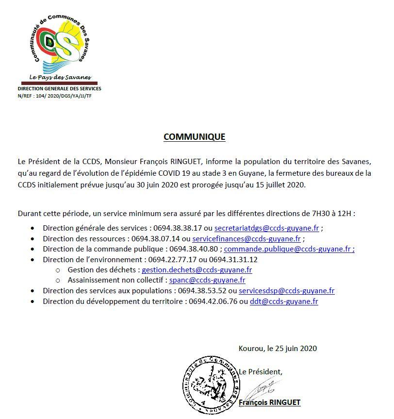 COMMUNIQUE COVID-19 du 25 Juin 2020