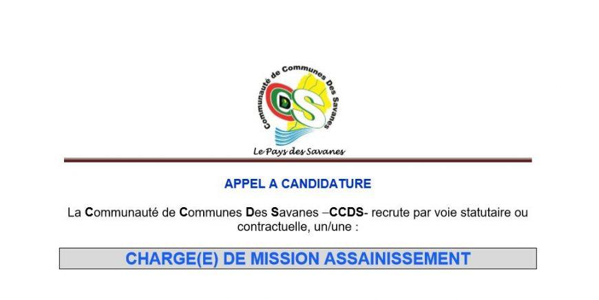 APPEL A CANDIDATURE : CHARGE(E) DE MISSION ASSAINISSEMENT