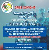 CRISE COVID-19 : Réunion Publique Samedi 1er Août 2020 de 10H à 12H00 au Pôle Culturel de KOUROU